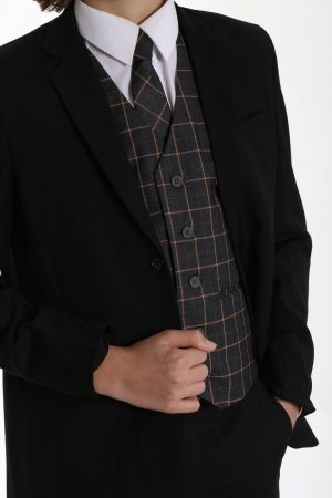 5pc Black Suit with Grey Check Finn