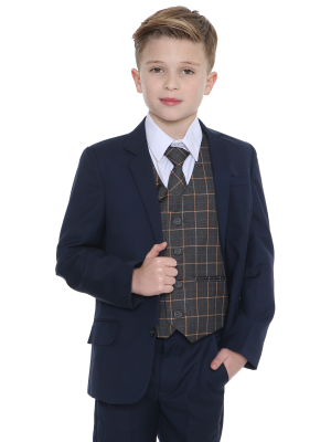 Boys 5 Piece Suits 5pc Navy Suit with Grey Check Finn