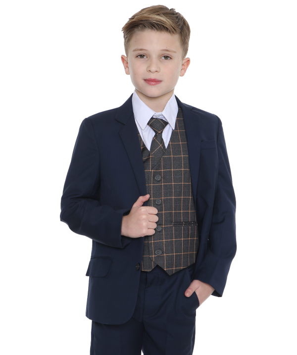 5pc Navy Suit with Grey Check Finn