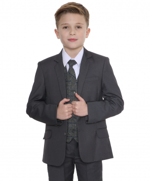 5pc Grey Suit with Blue Check Michael