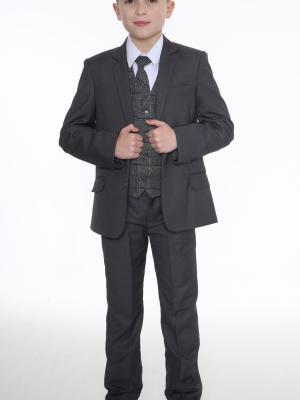 Boys 5 Piece Suits 5pc Grey Suit with Blue Check Michael
