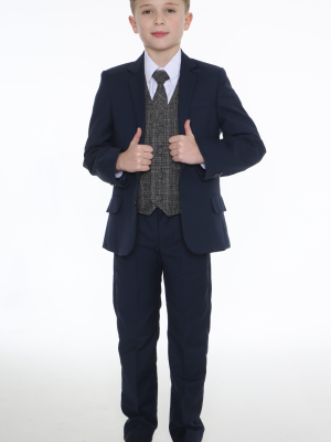 Boys 5 Piece Suits 5pc Navy Suit with Grey Check Billy