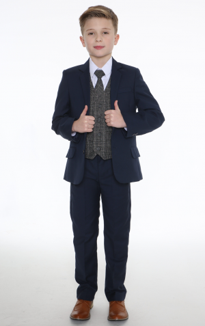 5pc Navy Suit with Grey Check Billy