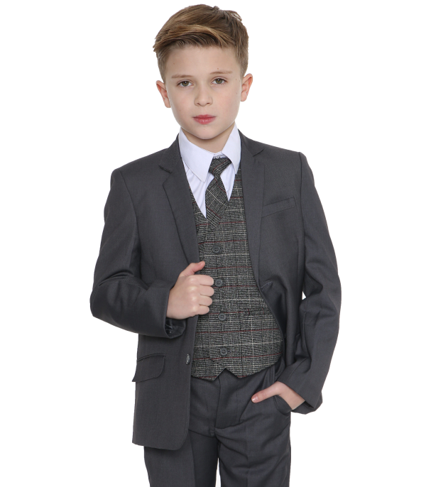 5pc Grey Suit with Red Check Thomas
