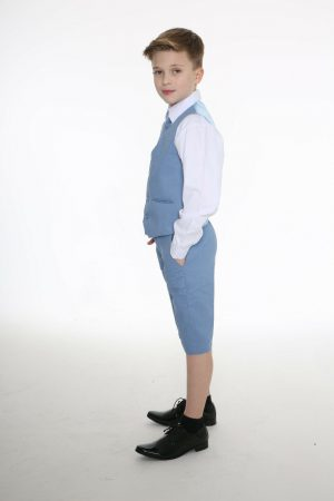 Boys 4pc Blue Linen short set