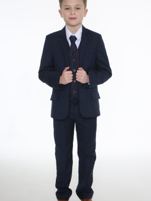 Boys 5 Piece Suits 5pc Navy Suit with Navy Connor
