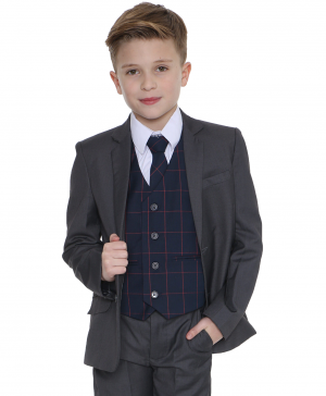 5pc grey Suit with Navy Connor