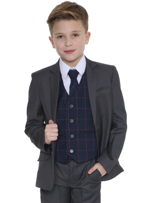 Boys 5 Piece Suits 5pc grey Suit with Navy Connor