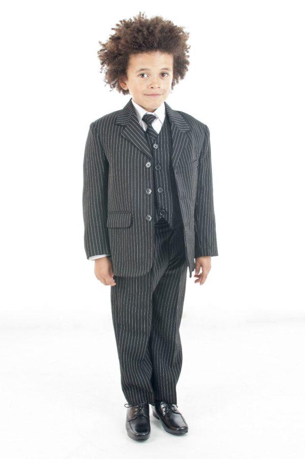 5 Piece Boys Black Pinstipe Suit