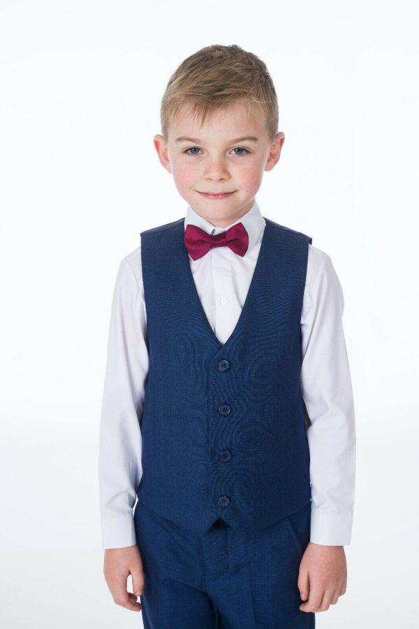 Boys 4 Piece Suit Navy Romario with bow tie