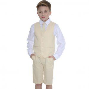Boys 4pc Sand Linen short set