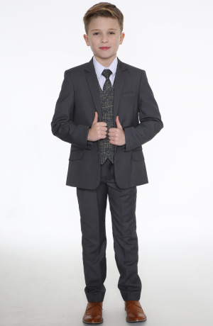 5pc Grey Suit with Blue Check Thomas