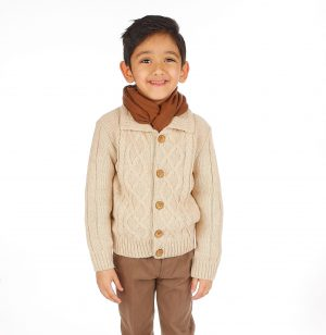 5pc Boys Casual Outfit with Cream Cardigan