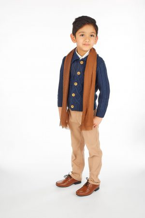 5pc Boys Casual Outfit with Navy Cardigan