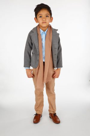 5pc Boys Casual Outfit with Grey Blazer Suit