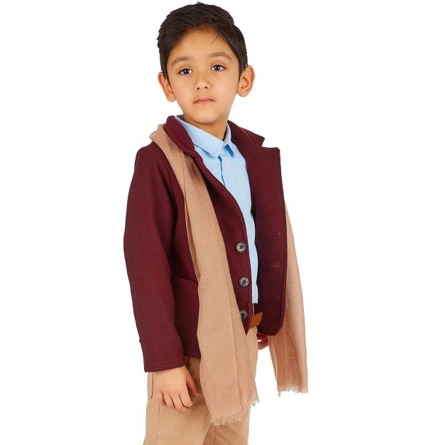 5pc Boys Casual Outfit with Wine Blazer Suit