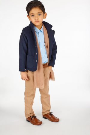 5pc Boys Casual Outfit with Navy Blazer Suit