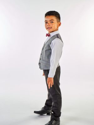 Boys 4 Piece Waistcoat Suits Boys 4 Piece Grey Check Suit in Black