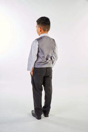 Boys 4 Piece Grey Check Suit in Black
