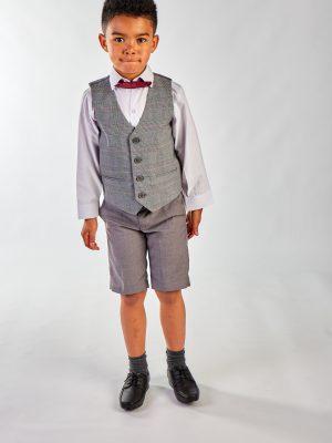 Boys 4 Piece Waistcoat Suits 4 Piece Grey Check Short Set