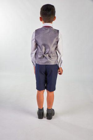 4 Piece Grey Check/ Navy Short Set