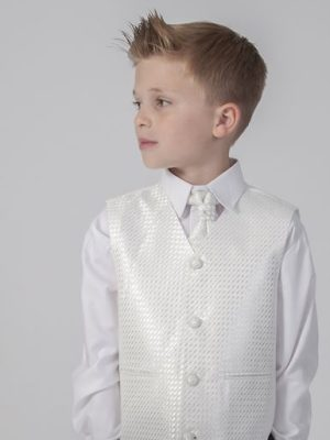 Boys 4 Piece Waistcoat Suits Boys 4 Piece Suit Grey with Ivory Philip