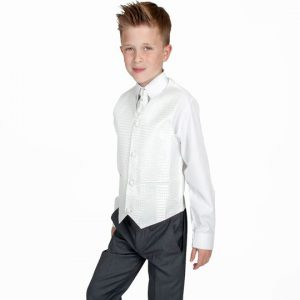 Boys 4 Piece Suit Grey with Ivory Philip