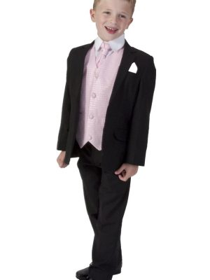 Boys 5 Piece Suits 5 Piece Black with Pink Philip