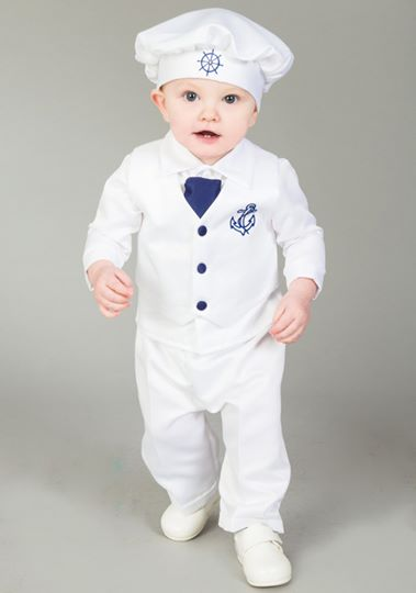 4 Piece Nelson Christening suit in White/Navy
