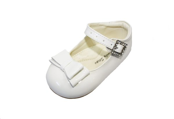 White Patent Shoes With Bow Feature