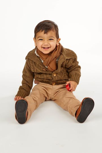 5pc Boys Casual Outfit with Brown Cardigan