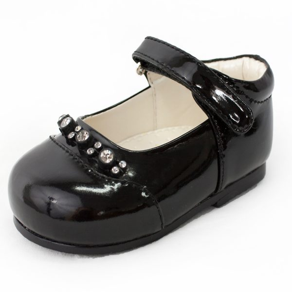 Early Steps Girls Black Diamond Shoes