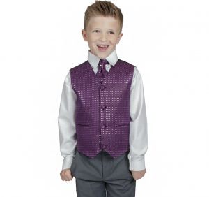 Boys 4 Piece Suit Grey with Purple Philip