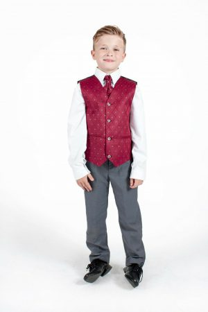 Boys 4 Piece Suit Grey with Wine Waistcoat Alfred