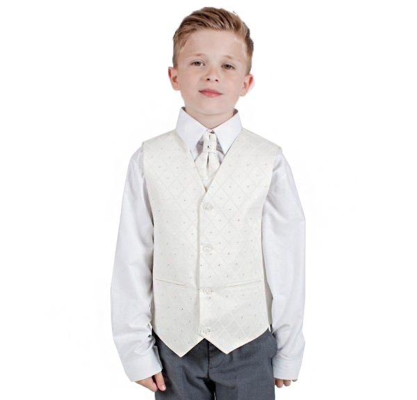 Boys 4 Piece Suit Grey with Cream Waistcoat Alfred