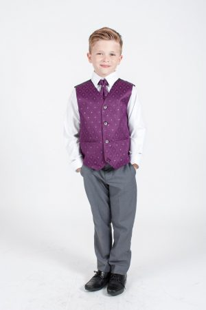 Boys 4 Piece Suit Grey with Purple Waistcoat Alfred