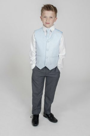 Boys 4 Piece Suit Grey with Blue Philip