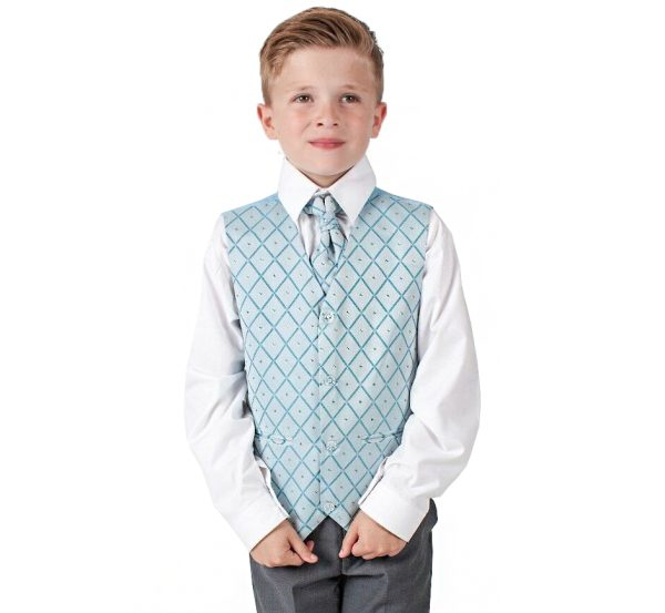 Boys 4 Piece Suit Grey with Blue Waistcoat Alfred