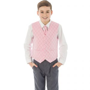 Boys 4 Piece Suit Grey with Pink/Pink Waistcoat Alfred