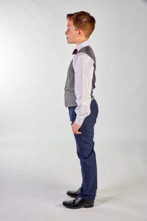 Boys 4 Piece Grey Check Suit in Navy