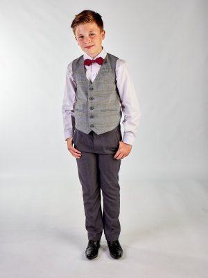 Boys 4 Piece Waistcoat Suits Boys 4 Piece Grey Check Suit in Grey