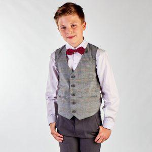 Boys 4 Piece Grey Check Suit in Grey