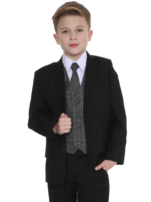 Boys 5 Piece Suits 5pc Black Suit with Grey Check Billy