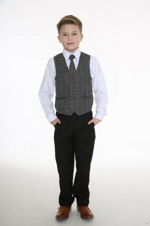 5pc Black Suit with Grey Check Billy