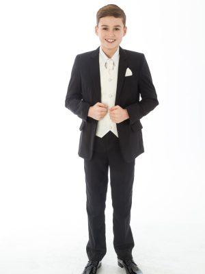Boys 5 Piece Suits Boys 5 Piece Black suit with cream swirl waistcoat