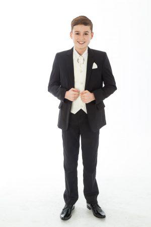 Boys 5 Piece Black suit with cream swirl waistcoat