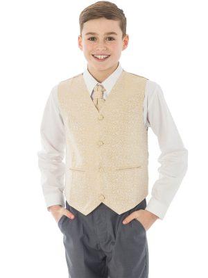 Boys 4 Piece Waistcoat Suits Boys 4 Piece Champagn/Grey Waistcoat Henry