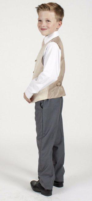 Boys 4 Piece Champagn/Grey Waistcoat Henry