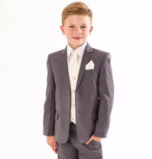 Boys 5 Piece Grey suit with cream swirl waistcoat