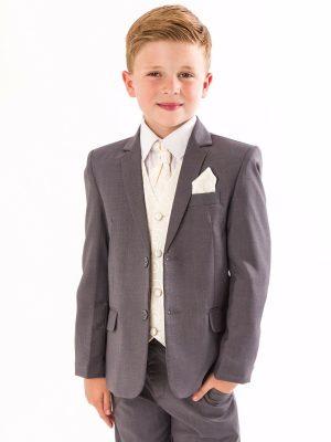 Boys 5 Piece Suits Boys 5 Piece Grey suit with cream swirl waistcoat